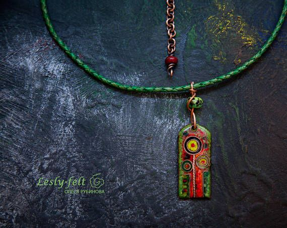 Cloisonne enameled pendant Green red jewelry Author jewelry