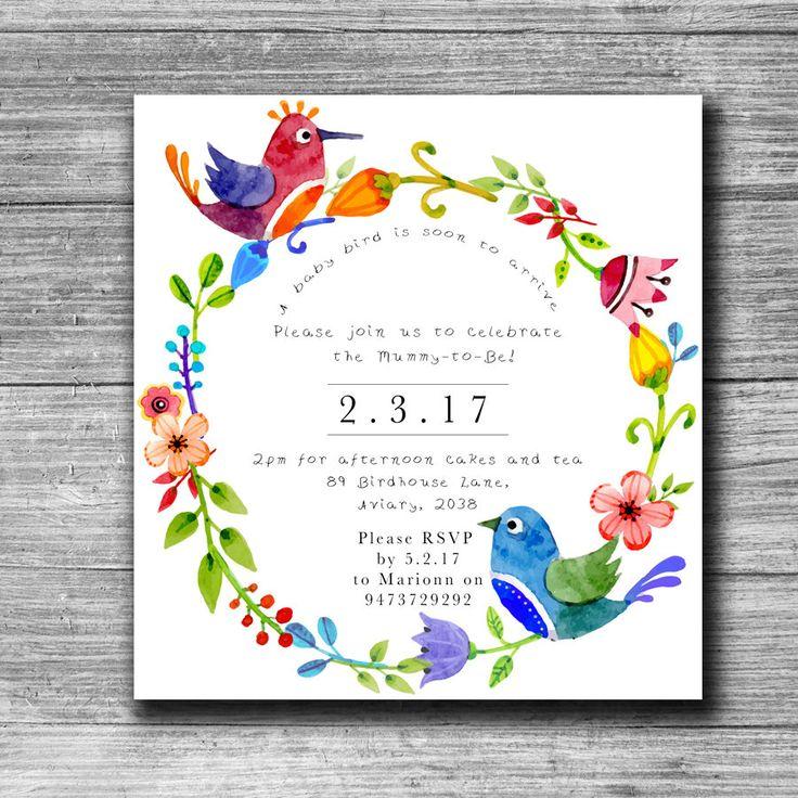 Square Baby Shower invite, Bird Baby Shower invite, Bird Baby Shower Invitation, Colourful Baby Shower Invite, Floral Baby Shower Invite by PennyLaneStationery on Etsy
