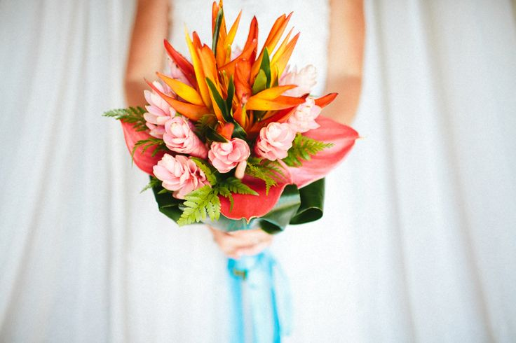 fiji wedding bouquet - tropical wedding styling - heloconias - gingers - beach wedding - kama catch me - fiji weddings