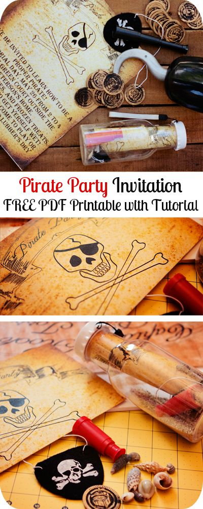Free pirate party invitation printable.  Free printable and easy invitation ideas!
