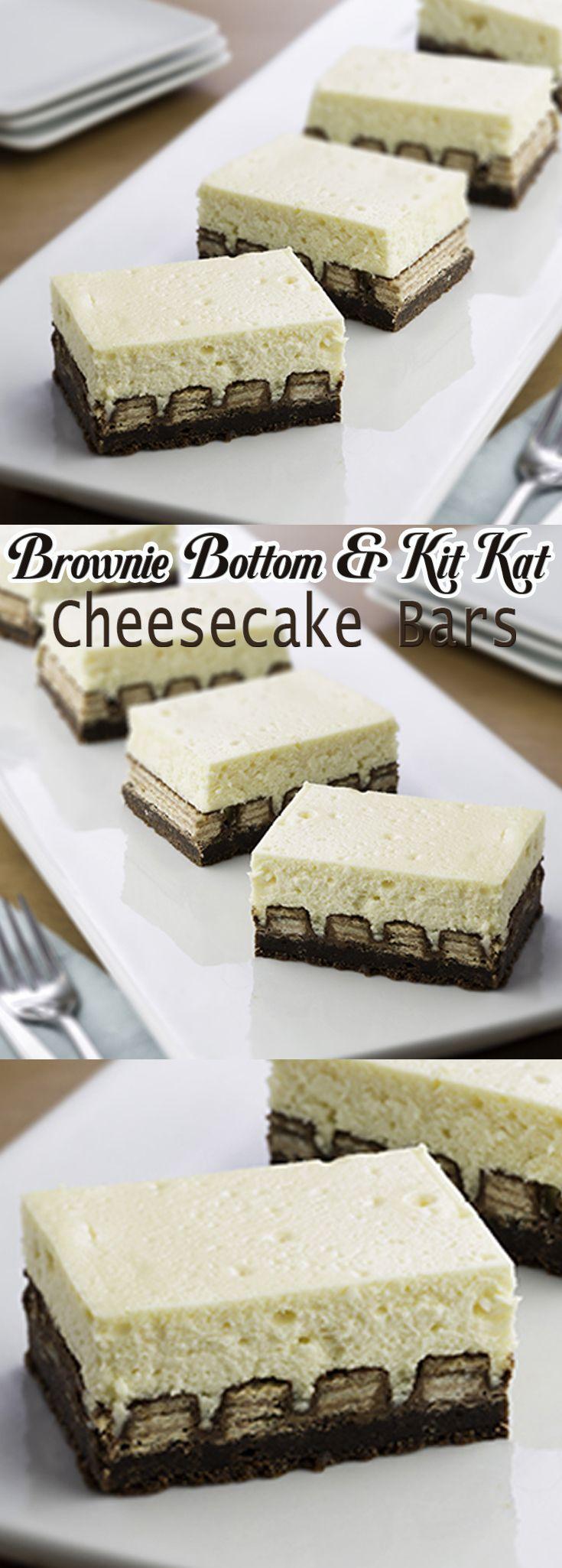 Brownie Bottom and Kit Kat Cheesecake Bars