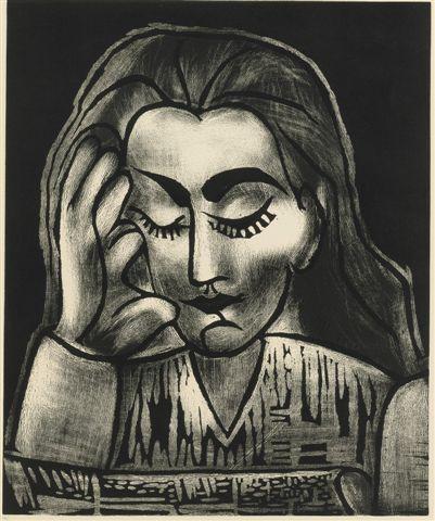 Pablo Picasso Jacqueline Lisant linocut 1964