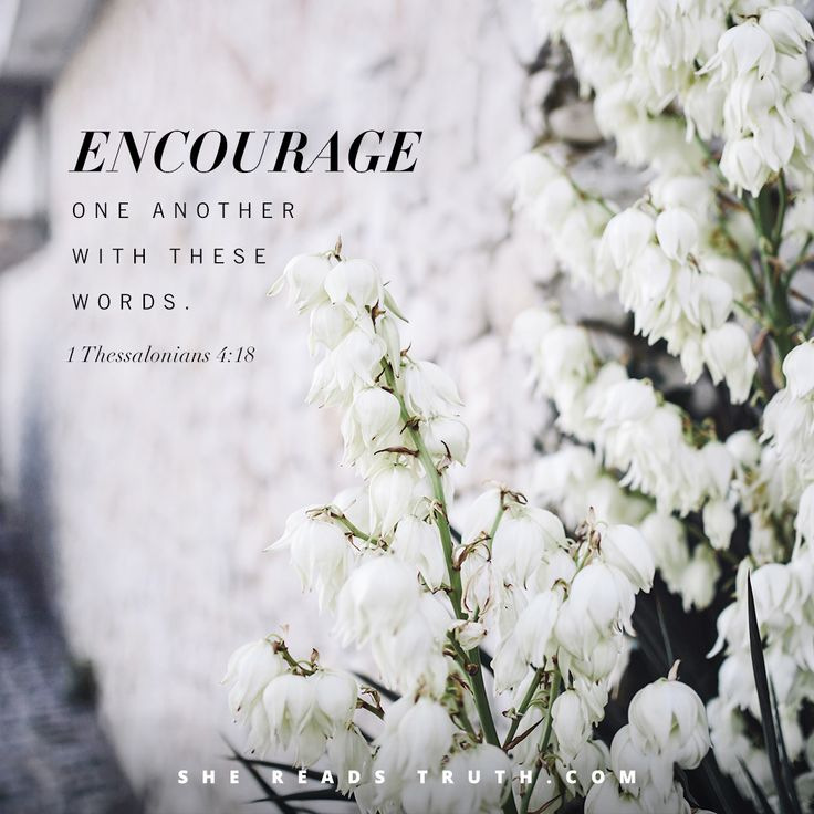 """Encourage one another with these words."" - 1 Thessalonians 4:18 