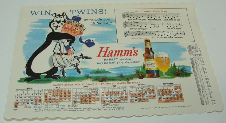 1960's Hamms Beer -Minnesota Twins Baseball Schedule -Placemat -Win Fight Song | eBay   Sold for $40 plus $3.50 S&H