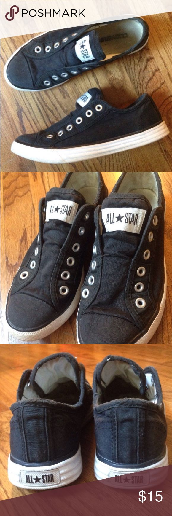 Converse Slip On Sneakers Converse black slip on sneakers - no laces needed! Worn but good condition. Size 8. Converse Shoes Sneakers