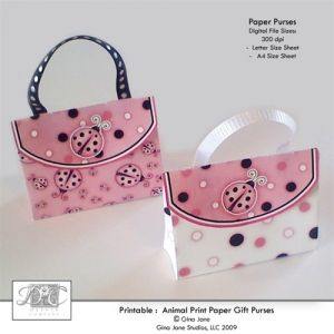 Pink Lady Bug Theme For Girls Baby Shower, Girls Birthday Parties   Paper Purse  Party