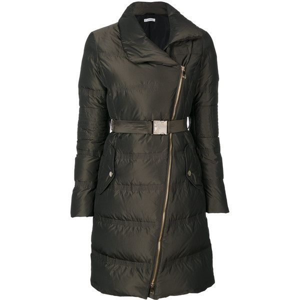 Versace Collection Zipped Down Coat ($680) ❤ liked on Polyvore featuring outerwear, coats, brown down coat, feather down coat, versace coat, down coat and goose down coats