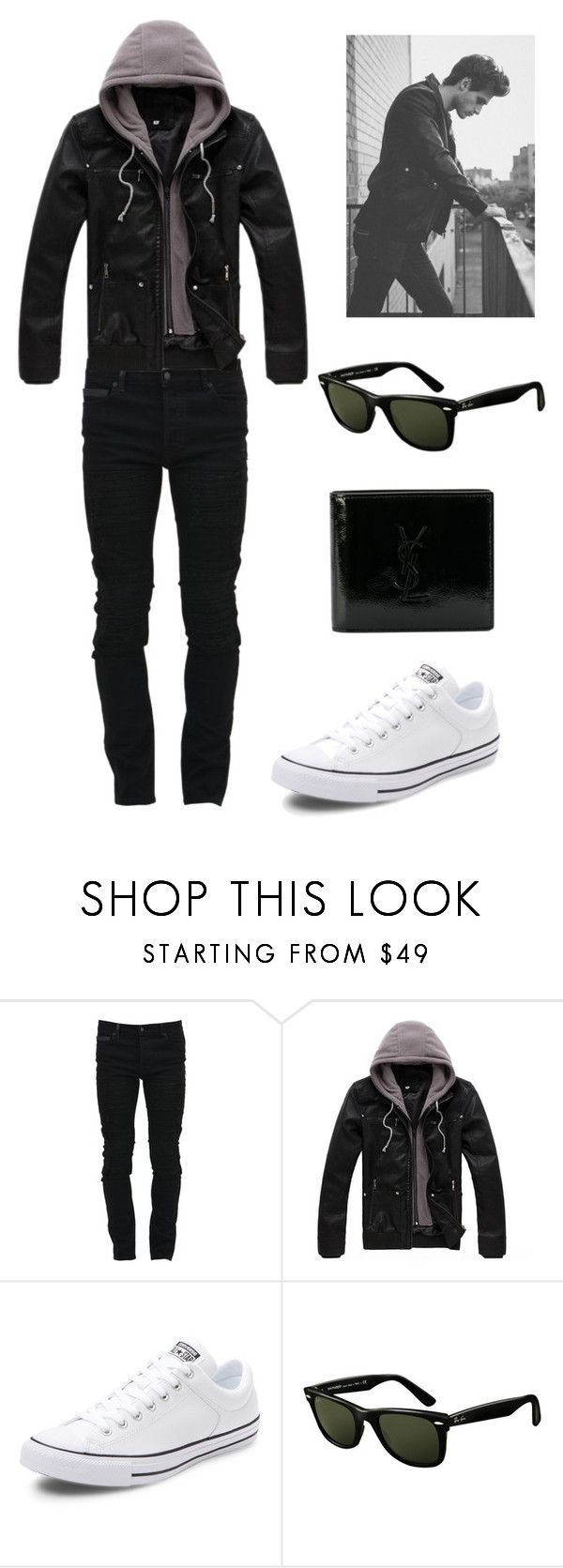 """""""•________•"""" by lore-4ever-directioner on Polyvore featuring Marcelo Burlon, Converse, Ray-Ban, Yves Saint Laurent, men's fashion y menswear"""