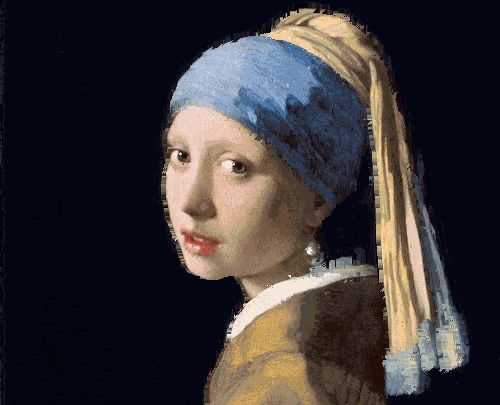 danielmclaren:  Pixel hue dissociation. Move each pixel up, down, left, or right according to its hue. The Girl with the Pearl Earring was painted byJohannes Vermeer. Source code.