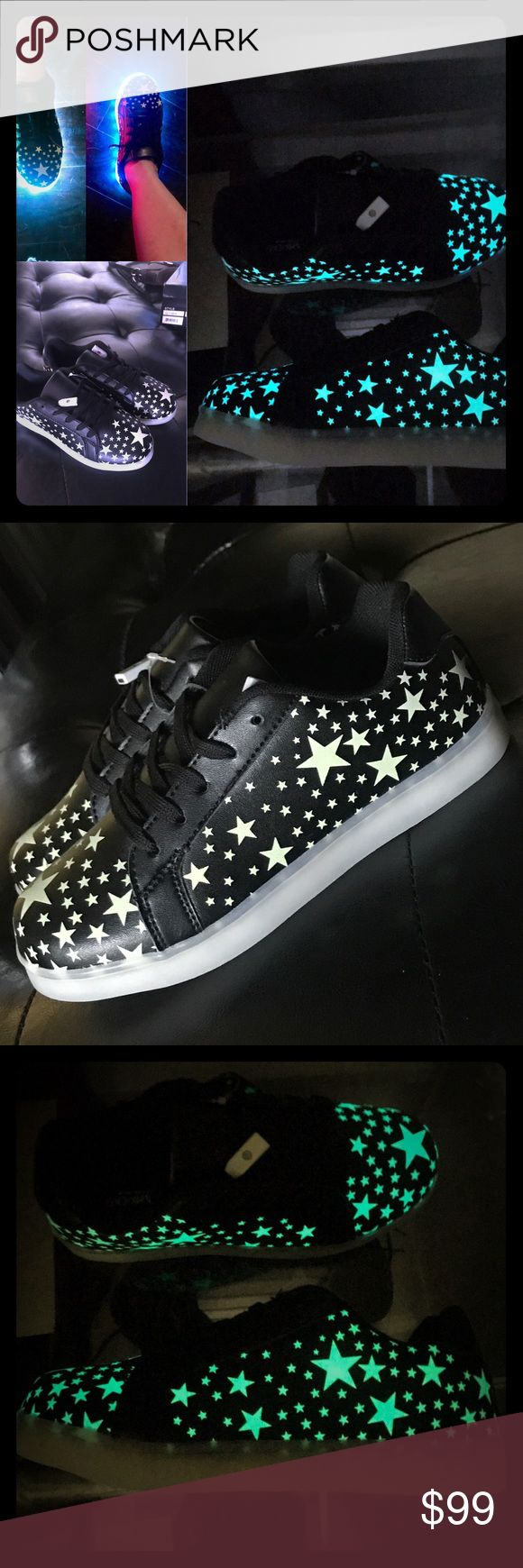 ✨👟Glow-in-the-dark✨Light-up✨Shoes✨👟 Super fun black sneakers with stars that glow in the dark and multicolor light-up soles.  Each shoe can be independently set to one of thirteen different light-up settings including solid, pulse, strobe, blink, random, fast or slow in whichever color choice you prefer. Shoes Sneakers