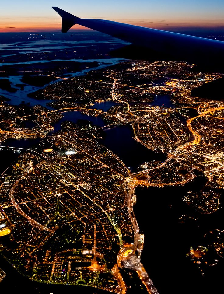 city of Stockholm by night--seeing city lights from a plane has always been one of my favorite parts of travel
