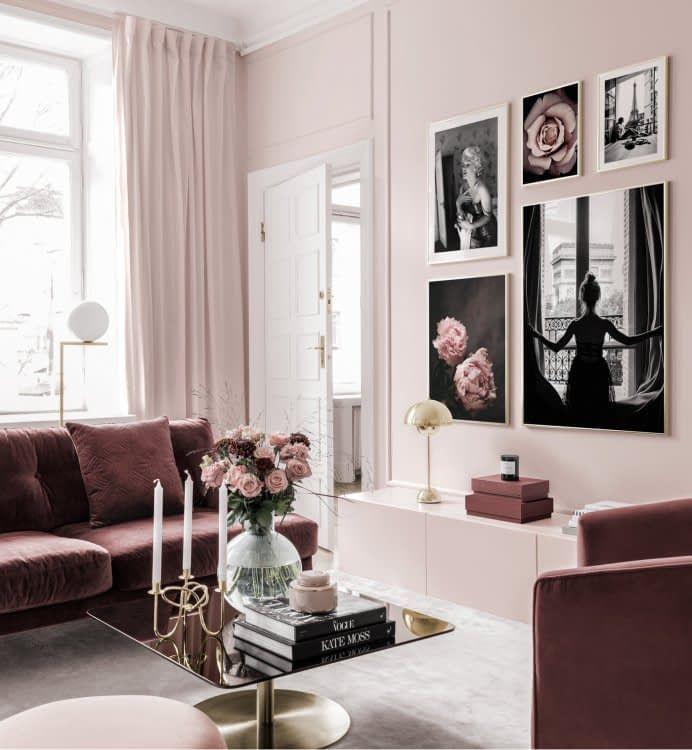Inspiration Fur Deine Bilderwand Posterstore De Wohnung Dekoration Galeriewand Wohnzimmer Rosa Wohnzimmer
