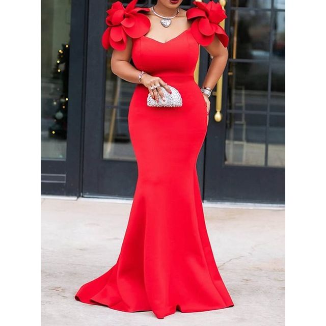 Women Dress Ladies Retro Mermaid Maxi Dress Flower Summer Stylish Plus Size Bodycon Red Long Party Dresses Size M Color Red – Mode africaine robe