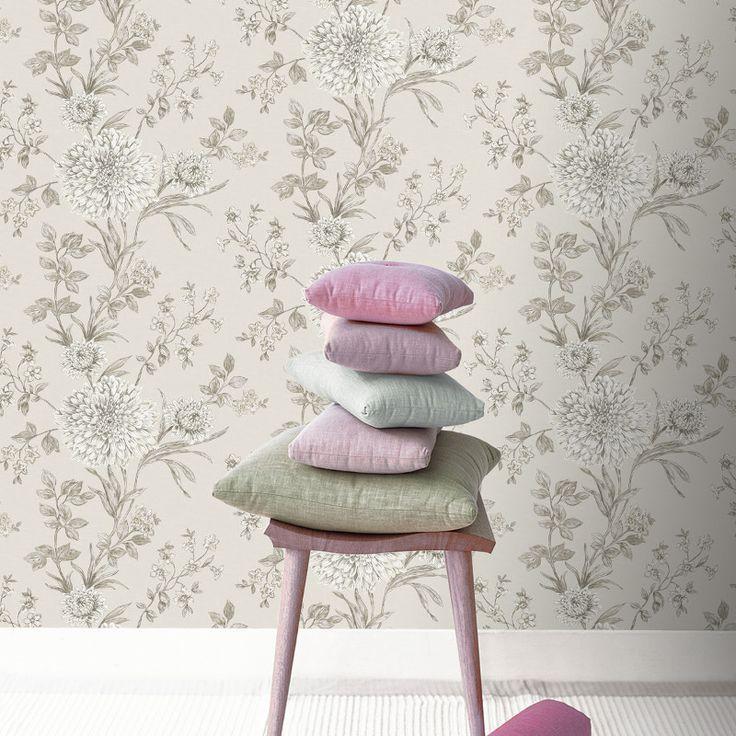 rasch behang | Rasch Bordeaux Floral Wallpaper in Neutral - 208528