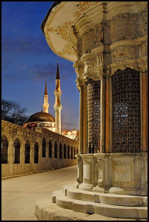 Mosque n fountain in Eyup district, Istanbul, Marmara_ Turkey