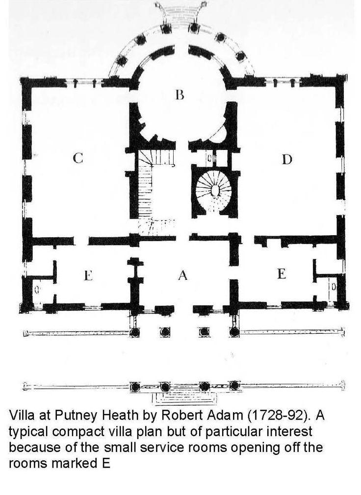 Villa At Putney Heath By Robert Adam Mansion Floor Plan Vintage House Plans Villa Plan