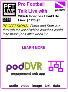 #PROFESSIONAL #PODCAST  Pro Football Talk Live with Mike Florio    Which Coaches Could Be Fired? | 12/6 #3    READ:  https://podDVR.COM/?c=c51326b0-8df7-b8e1-42d2-a1e121b4a006