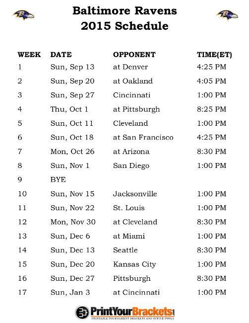 Printable Baltimore Ravens Schedule - 2015 Football Season