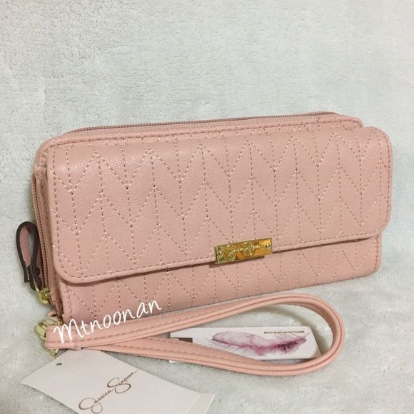 """Jessica Simpson Cynthia Front Pocket Zip Wallet Jessica Simpson Cynthia Zip Around Front Pocket Clutch Wallet Wristlet  • Will fit an iPhone 6 PLUS • Dimensions: 8""""L x 2""""D x 4""""H with removable wrist strap • Front pocket section of wallet: will hold larger cell phones • Back zip around section of wallet includes: 6 credit card slots, 2 expandable compartments, 1 slip pocket, 1 zipper compartment with animal print lining • Color: Baby Pink • Hardware: Gold tone   I have more JESSICA SIMPSON…"""