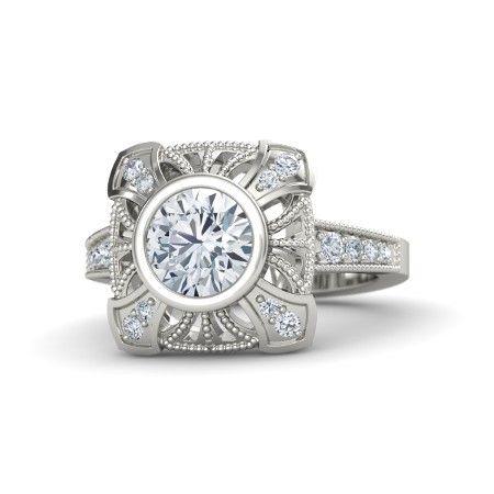 Sansa Ring customized with diamond in 14k white gold