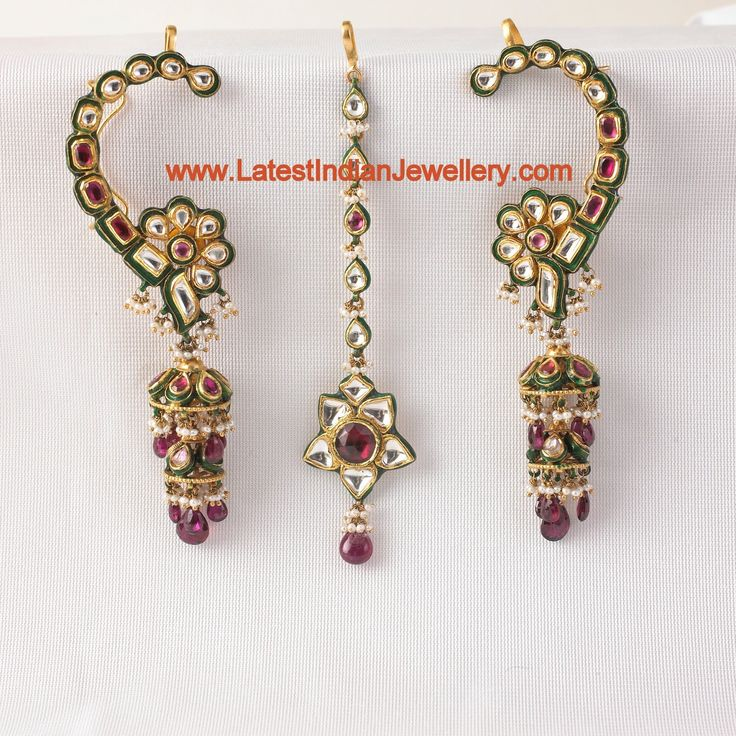 All Over Kundan Earrings and Maang Tika   Latest Indian Jewellery Designs