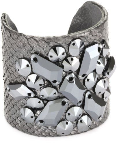 """TED ROSSI """"Femm e Fatale"""" Python D'art """"X"""" Cuff Bracelet Ted Rossi. $156.20. Metallic python and metallic Swarovski elements on a python skin cuff. Made in USA. Adjustable brass base ensures a one size fits most"""