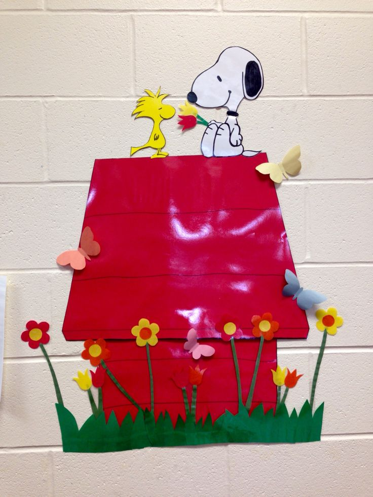 Spring  Snoopy classroom bulletin board.                                                                                                                                                      More