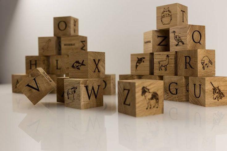 Custom made alphabet blocks. Made highland oak. www.celticcollective.com