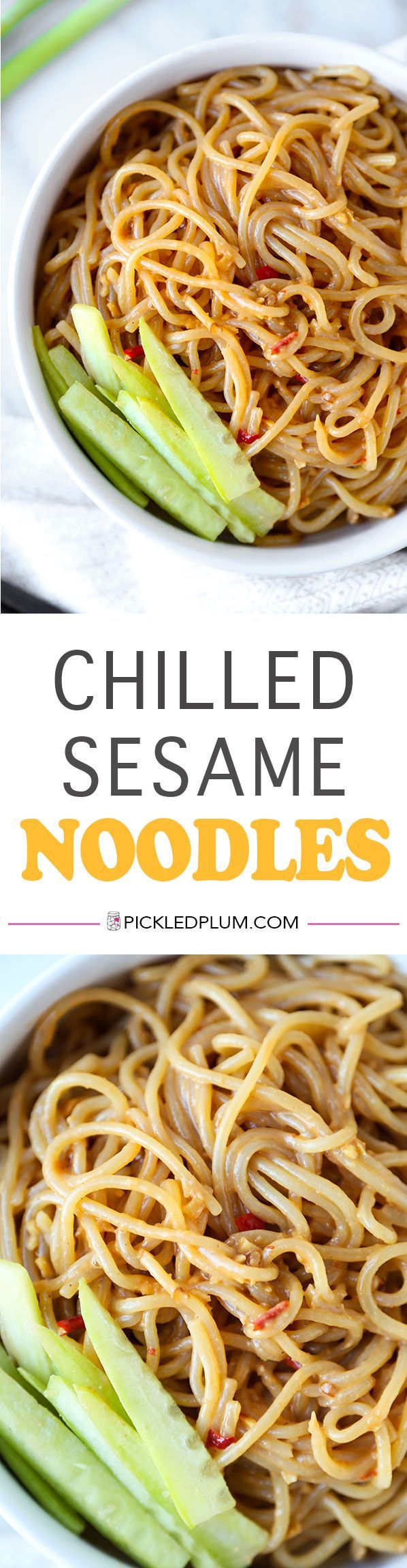 Chilled Sesame Noodles - Delicious eggs noodles tossed in a nutty, spicy and sweet sesame sauce. Ready in 15 minutes from start to finish and so much better than delivery! Recipe, Chinese, Noodles, Dinner, Appetizer | pickledplum.com