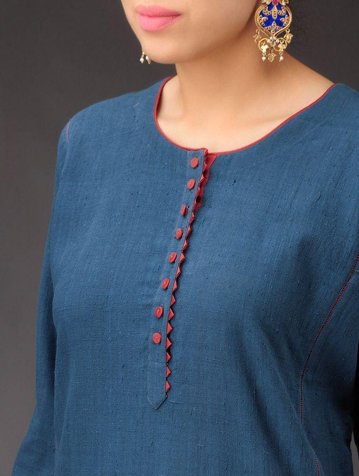 Buy Indigo Maroon Panel Khadi Kurta Women Kurtas Online at Jaypore.com