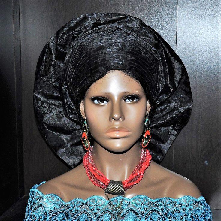 CUSTOM ORDER for Vivian- Pret-a-porter - Pre-made African Multi-pleats Gele - Head tie - Black by MonBoChapoHat on Etsy