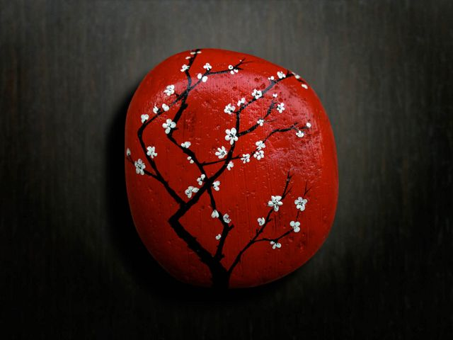 """Galet """"Red blossom"""""""" by Keng-Iye"""