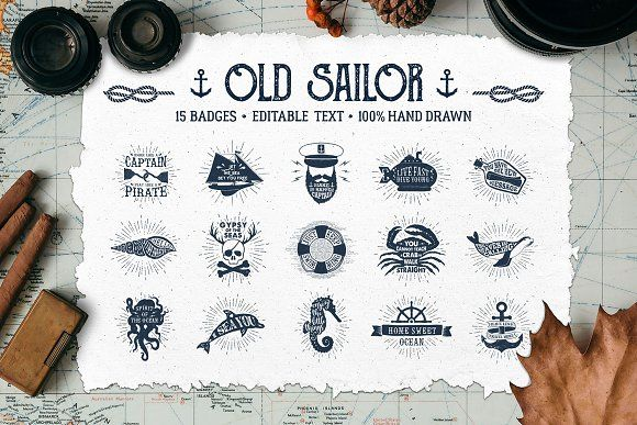 Old Sailor (Vintage Badges/part1) by Cosmic Store on @creativemarket