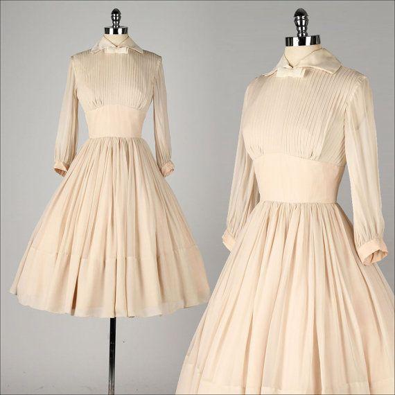 vintage 1950s dress . mocha chiffon . sheer long sleeve . bow tie collar . pleated bodice . 4310