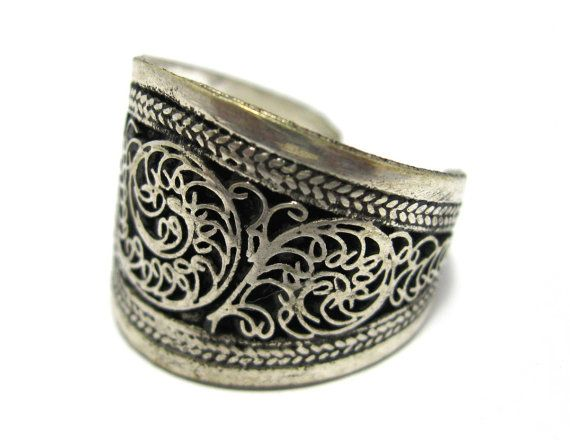 FREE SHIPPING Adjustable Silver Color Nepali Tibetan by CraftEast, $16.45
