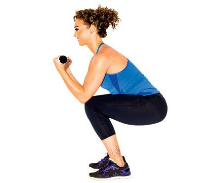 Works: shoulders, biceps, butt, thighs Start in a deep squat, a weight in each hand, elbows on knees, forearms raised. Lower weights until forearms are parallel to floor, then curl weights toward chest (as shown). Stand and straighten arms overhead. Return to start for 1 rep. Do 12 reps.