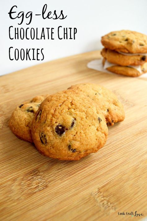 Do you have an egg allergy in the house or are you just plain out of eggs?  Try my secret to these egg-less chocolate chip cookies and you just might have a new chocolate chip cookie recipe favorite! http://cookcraftlove.com/egg-less-chocolate-chip-cookies/?utm_content=buffer89f53&utm_medium=social&utm_source=pinterest.com&utm_campaign=buffer#_a5y_p=4025125
