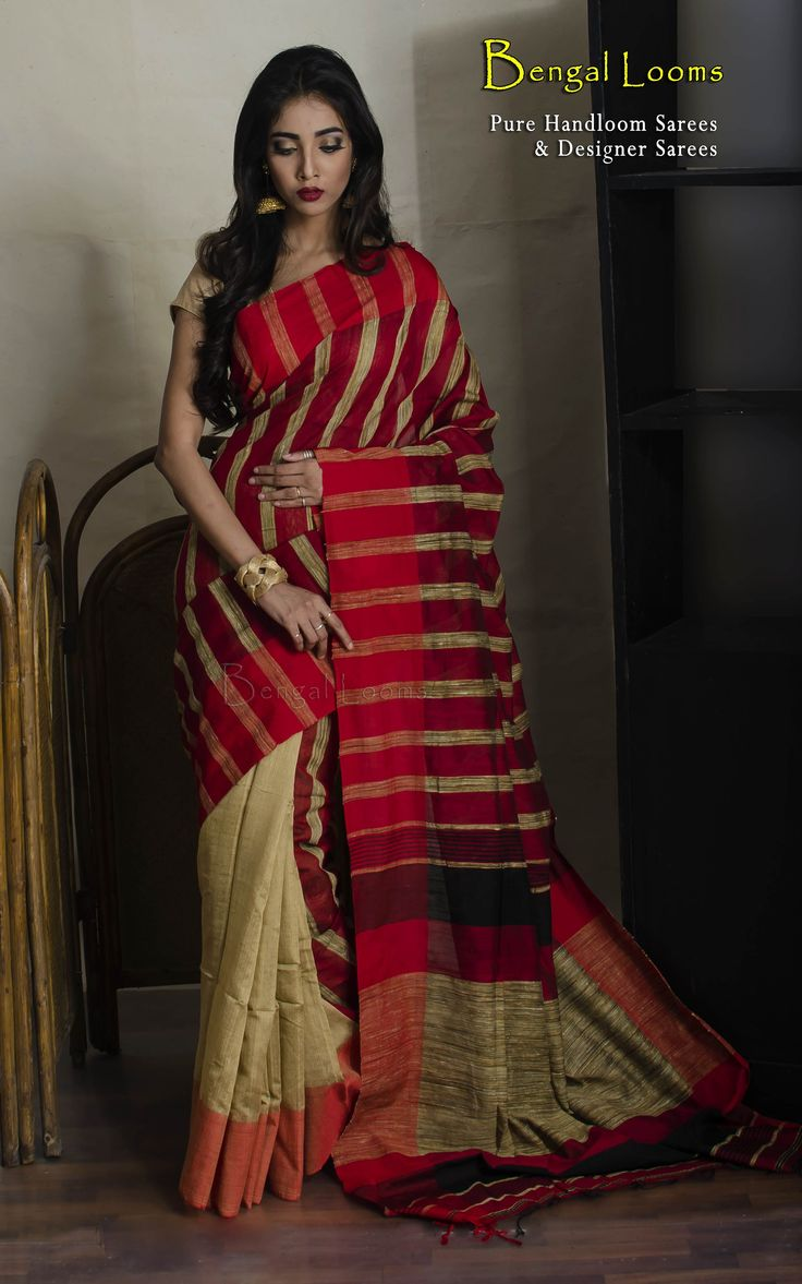 Pure Handloom Soft Cotton Khadi Saree with Gicha Stripe in Red Tussar Color.