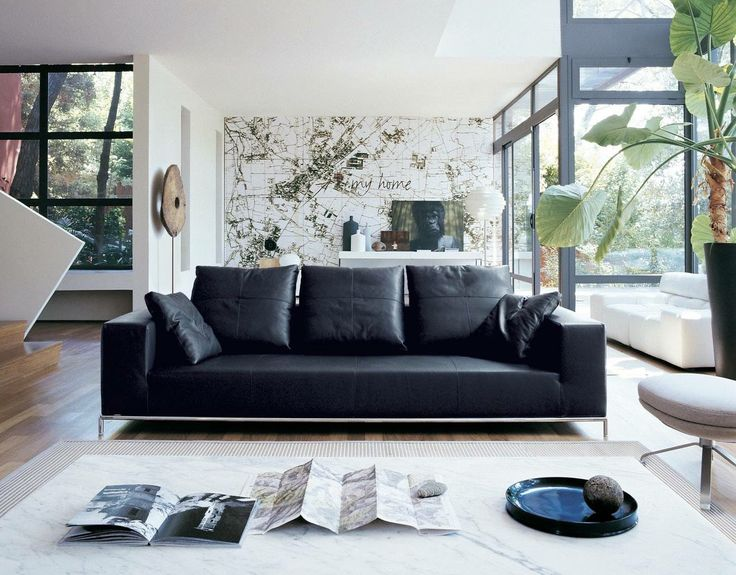Pin 6: Leather is a good material for be resistant to mildew, heat and flames. This material has a variety of forms to using including cloths, floors and walls panelling.  One example of that, is this couch, which gives the place a elegant and sophisticated look.