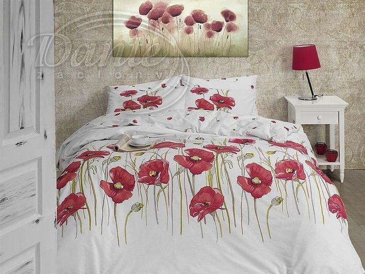 Působivé příjemné povlečení s velkými květy červených vlčích máků. Na bílém podkladu.     Povlečení je vzorováno z obou stran stejně.     Zapínání je na zip.     Povlečení je vyrobeno z hladké 100% bavlny.