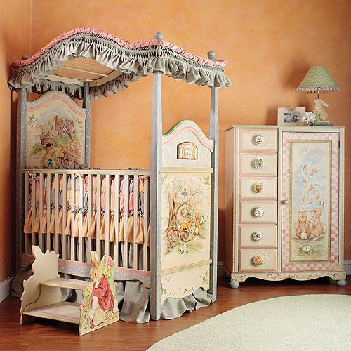 Carrot Collection Canopy Crib and Bedding
