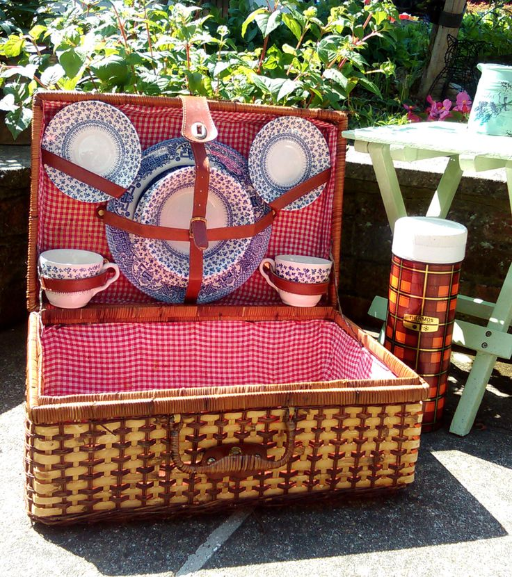Wicker picnic basket set, Wicker picnic hamper set for 2, Gingham lined, China set for two and vintage tartan thermos, Camper van accessory by StrawberryfVintage on Etsy
