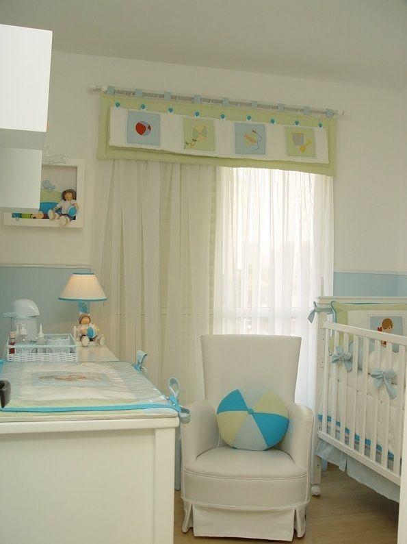 Quarto de Bebê azul turquesa e branco com objetos e imagens decorativas do te