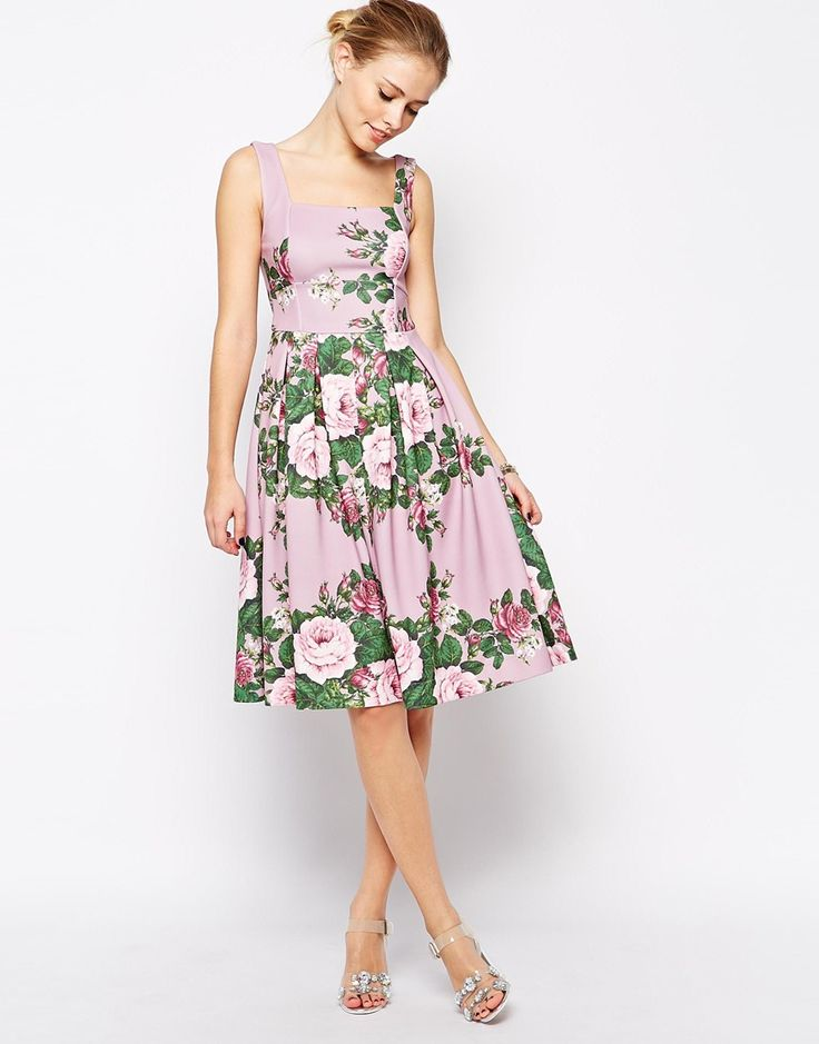 Asos lilac floral rose debutante midi dress wedding for Floral dresses for weddings