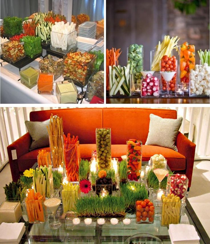 Veggie Display Ideas - the color of fresh vegetables is gorgeous in and of itself. Use that as a focal point in your table scapes.