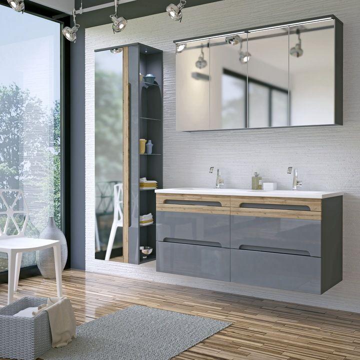 Podwójna Szafka łazienkowa Z Umywalką 120 Cm Szara