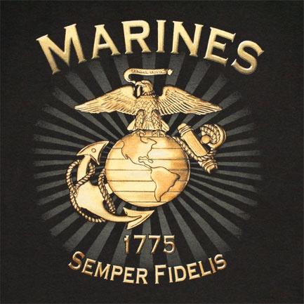 Us Marines Brass Logo Semper Fidelis Patriotic T Shirt