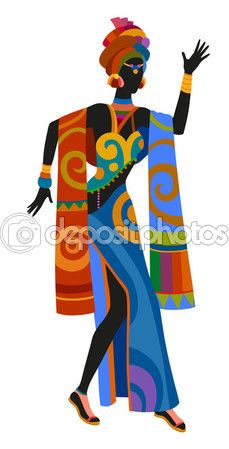 Mujer africana de danza étnica — Ilustración de stock #101107304