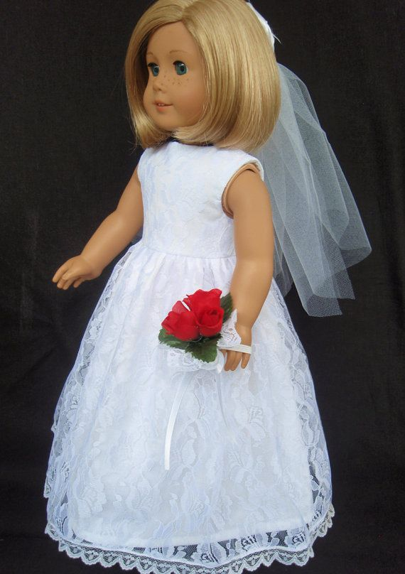 American Girl Doll Clothes Lace Overlay Wedding Gown Dress SewSoNancy Boutique