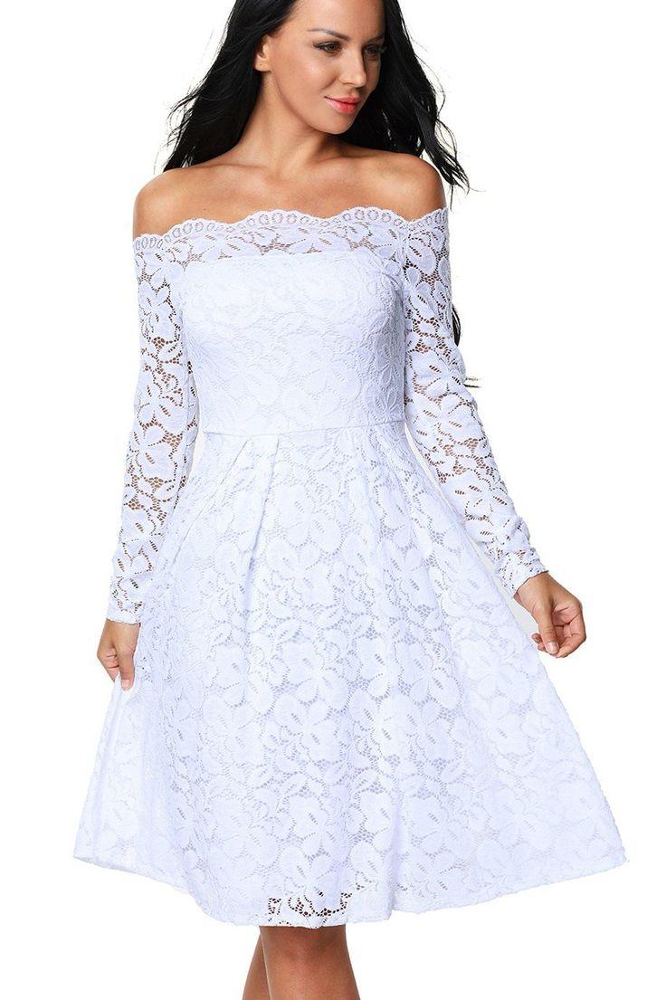 White dress cocktail - White Long Sleeve Floral Lace Off Shoulder Cocktail Skater Dress